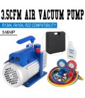 Combo 3,5CFM 1/4HP Air Vacuum Pump HVAC + R134A Kit AC A/C Manifold Gauge Set