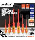 6pc Electrician's Insulated Magnetic Electrical Hand Screwdriver Tool Set New